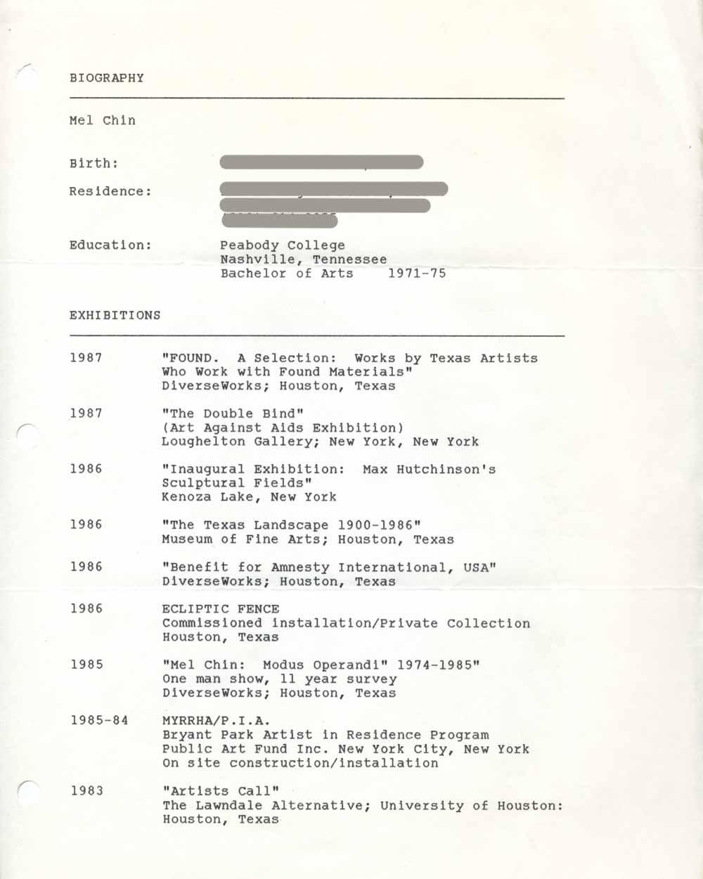 Mel Chin's Resume, pg 1